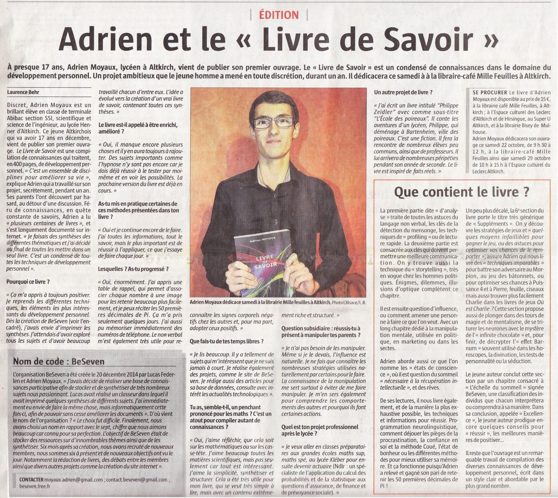 Article paru dans l'Alsace sur le Livre de Savoir écrit par Adrien Moyaux